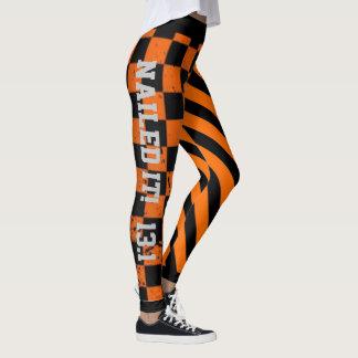 Leggings Diseño fresco del Grunge del naranja y del negro