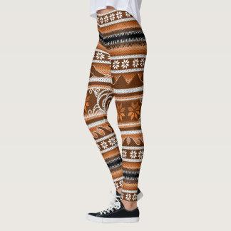 Leggings Diseño nórdico anaranjado del invierno