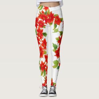 Leggings El Poinsettia rojo del vintage florece las