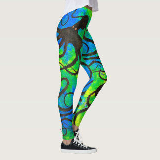 Leggings El pulpo en verde azul - polainas de Sybille