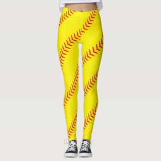 Leggings El softball amarillo brillante cose las polainas