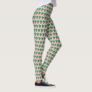 Leggings El verde rojo de las bayas del navidad deja el