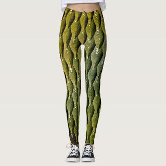 Leggings Escalas negras verdes de la serpiente