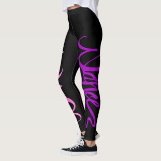 Leggings Escritura de encargo de la danza - rosa y púrpura
