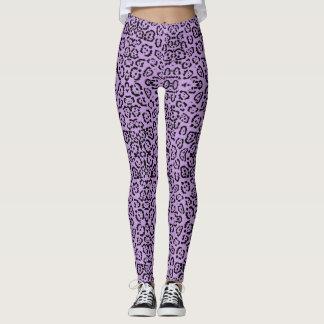 Leggings Estampado de animales púrpura del leopardo