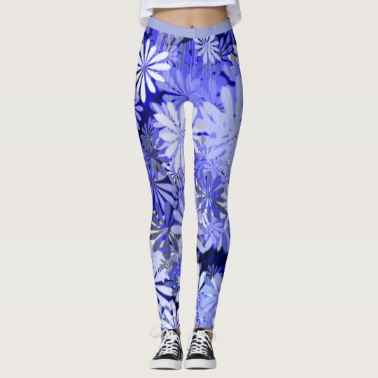 Leggings Estampado de flores en azules del dril de algodón