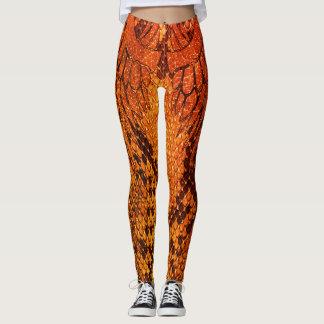 Leggings Estilo anaranjado legging. de la piel de serpiente