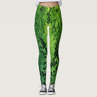 Leggings Estilo legging. de la piel de serpiente verde