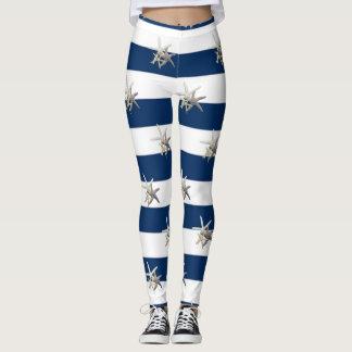Leggings Estrellas de mar adorables, rayas de azules