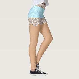Leggings Falda azul coqueta del cordón para la mujer