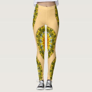 Leggings Girasoles, mandala 001 02 de la flor de la