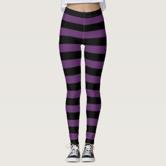 Leggings Gótico rayado negro y púrpura