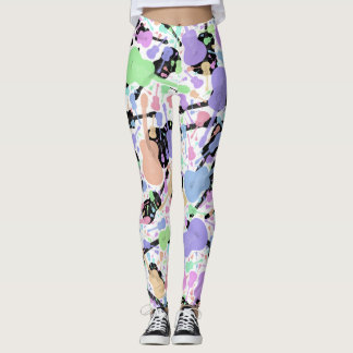 Leggings Guitarra negra y blanca en colores pastel