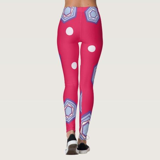 Leggings Hexágonos en las polainas rosadas carmesís