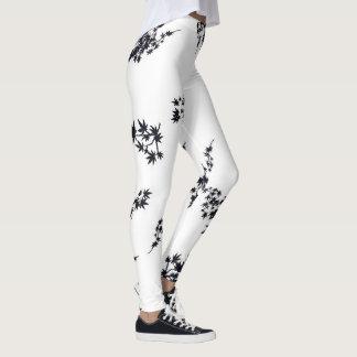 Leggings Hojas blancos y negros