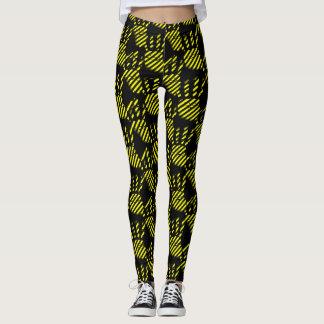 Leggings La palma negra y amarilla imprime el modelo,