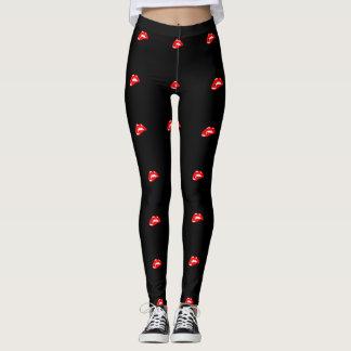 Leggings Labios femeninos, rojos bonitos, negros
