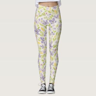 Leggings Lavendar y polainas verdes del diseño floral de la