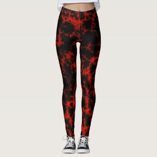 Leggings Llamas rojas y negras de la energía