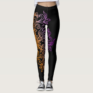 Leggings Mandala púrpura anaranjada elegante de la