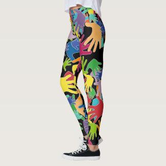 Leggings Manos hermosas coloridas del dibujo animado por