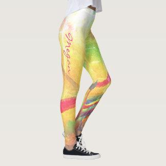 Leggings Mirada llevada abstracta colorida con nombre -
