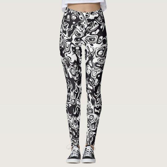 Leggings Modelo abstracto blanco y negro
