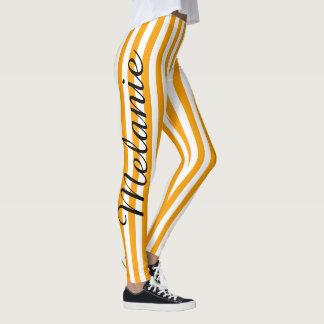 Leggings Modelo anaranjado colorido de la raya de la yoga