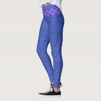 Leggings Modelo azul y púrpura del extracto del diamante
