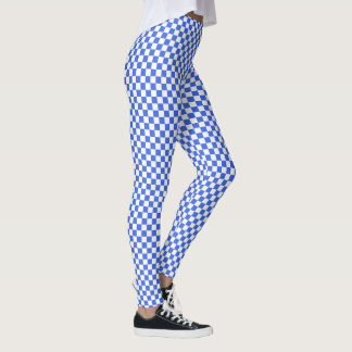 Leggings Modelo blanco del tablero de damas del azul real