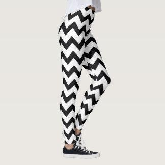 Leggings Modelo blanco y negro de Chevron de la yoga linda