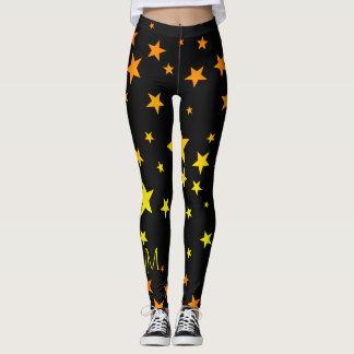 Leggings Modelo de estrella brillante del naranja y del