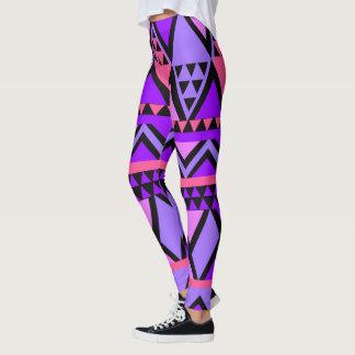 Leggings Modelo de zigzag púrpura, azul, rosado brillante