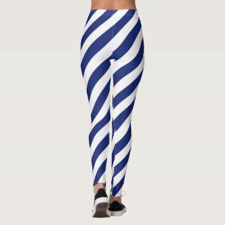 Leggings Modelo diagonal del azul marino y blanco de las