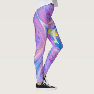 Leggings Modelo espiral abstracto azul rosado púrpura