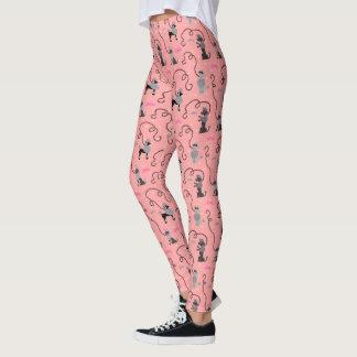 Leggings Modelo fresco negro rosado retro de la MOD 50s de