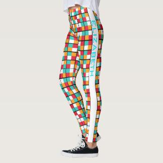 Leggings Modelo geométrico colorido de la permutación del