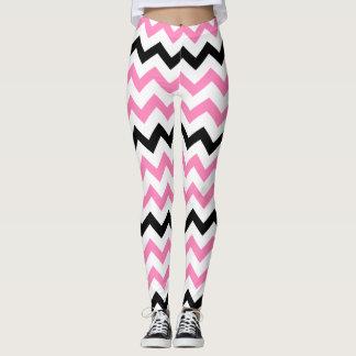 Leggings Modelo rosado y negro de la yoga linda de Chevron