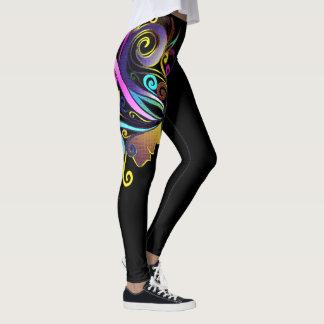 """Leggings """"Mujer en negro del arte de la mascarada colorida"""""""