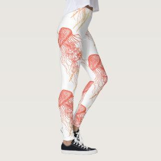 Leggings Naranja de las medusas, rojo, polainas blancas