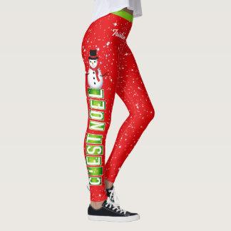 Leggings Navidad de NOEL/del muñeco de nieve de C'EST (su