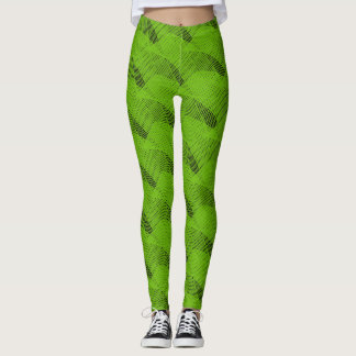 Leggings Negro moderno de las Líneas Verdes abstractas