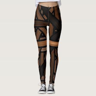 Leggings Negro y geométrico de Brown entrelazado rayado