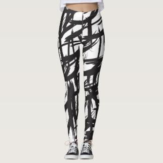 Leggings Pincelada, modelo blanco y negro, abstracto