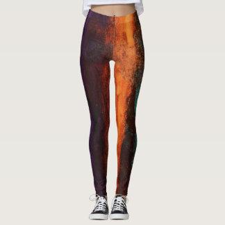 Leggings Pinte las polainas Deep Purple verde anaranjado de