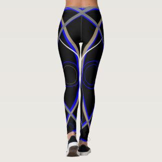 Leggings Polainas #15 azules y gris en negro