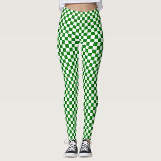 Leggings Polainas a cuadros verdes y blancas