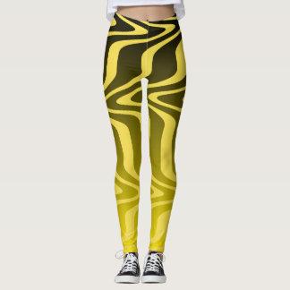 Leggings Polainas amarillas y negras de las ondas