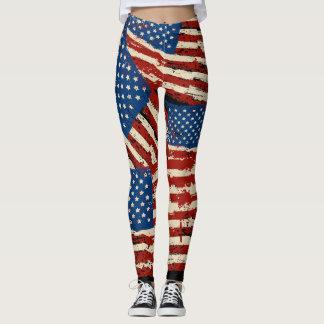 Leggings Polainas americanas de la bandera del vintage
