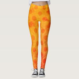 Leggings Polainas anaranjadas del lunar del Grunge